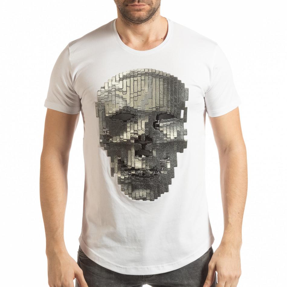 Бяла мъжка тениска с гумиран череп tsf190219-23