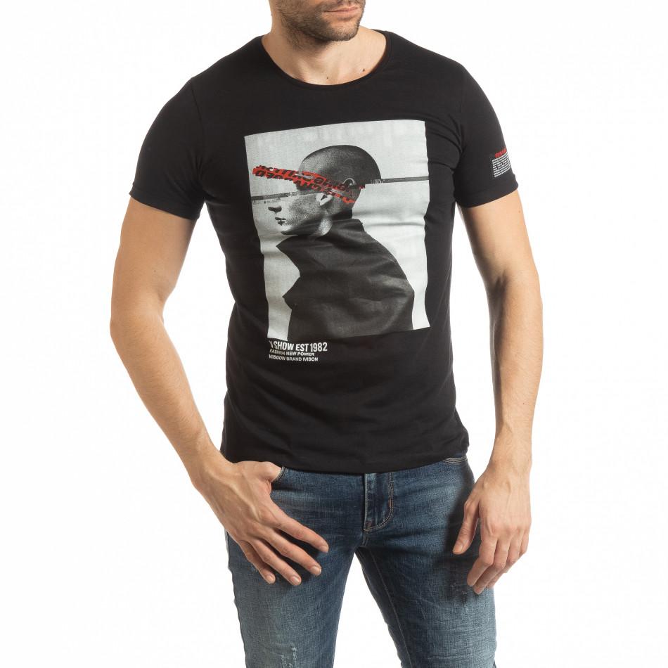 Черна мъжка тениска с принт 1982 tsf190219-7