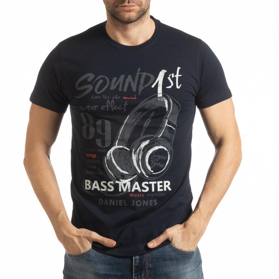 Мъжка тъмносиня тениска Sound tsf190219-68
