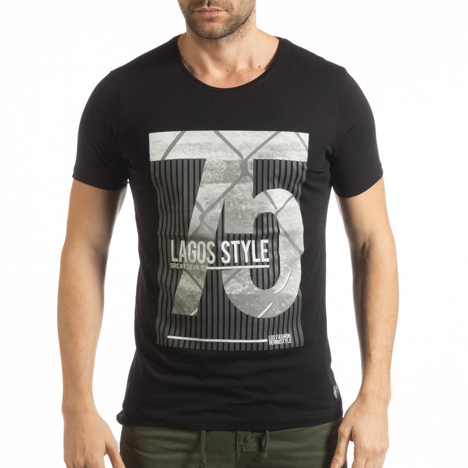 Черна мъжка тениска с принт Lagos Style tsf190219-54