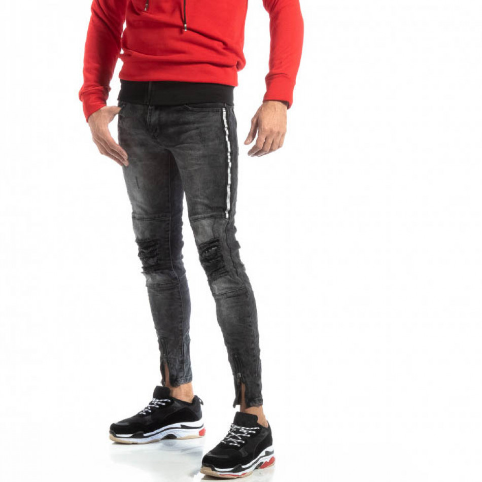 Мъжки Worn Jeans в сиво с акценти it261018-19