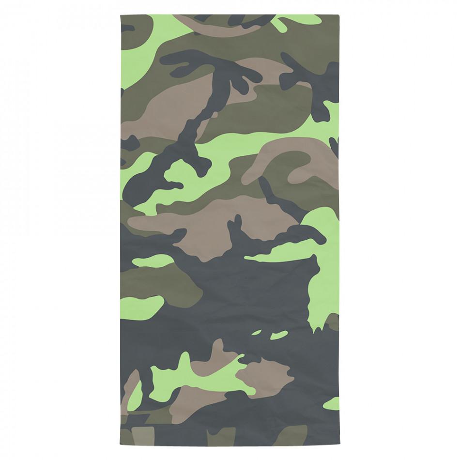 Плажна кърпа зелено-черен камуфлаж tsf120416-14