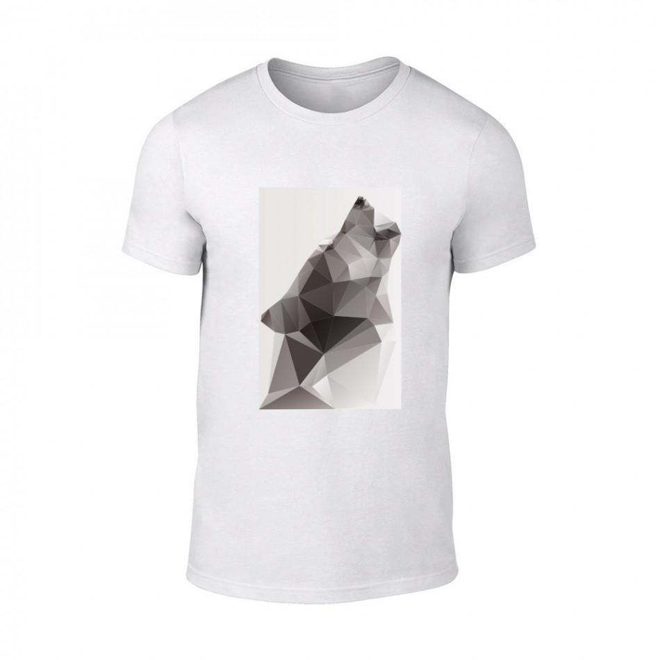 Мъжка бяла тениска  с черно-бял принт Wolf TMN-M-197