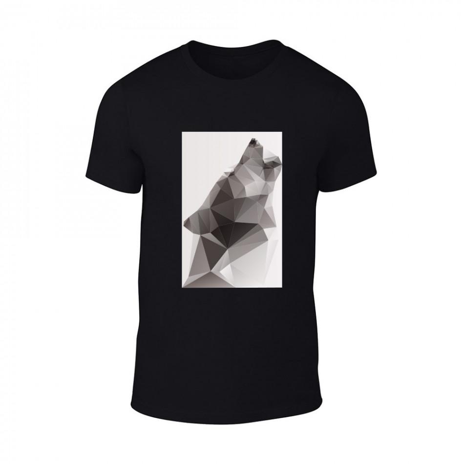 Мъжка черна тениска  с черно-бял принт Wolf TMN-M-198