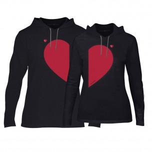 Суичъри за двойки Half Heart в черно