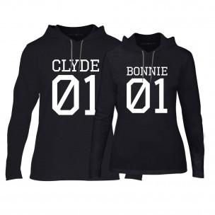 Суичъри за двойки Bonnie 01 & Clyde 01 в черно