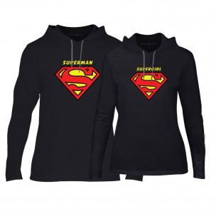Суичъри за двойки Superman & Supergirl в черно