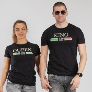 Тениски за двойки Fashion King Queen черни