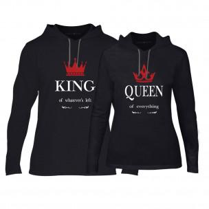 Суичъри за двойки King Queen в черно