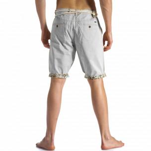 Мъжки сиви къси панталони с въжен колан  2