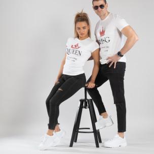 Тениски за двойки King Queen бели