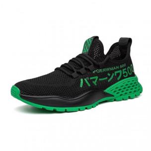 Мъжки леки черни маратонки зелен акцент 2