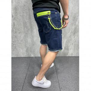 Мъжки тъмносини къси дънки с неонови акценти 2Y Premium 2