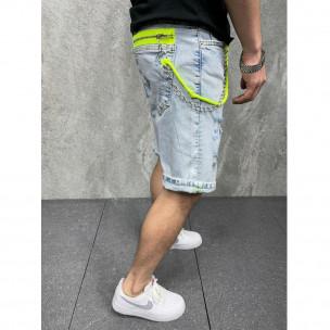 Мъжки светлосини къси дънки с неонови акценти 2Y Premium 2