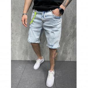 Мъжки светлосини къси дънки с неонови акценти 2Y Premium
