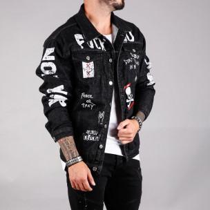 Мъжко черно дънково яке с принт