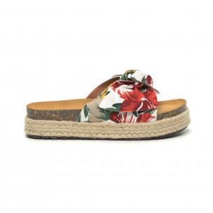 Дамски чехли с флорален десен и панделка