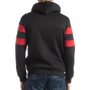 Мъжки ватиран суичър в черно и червено  2