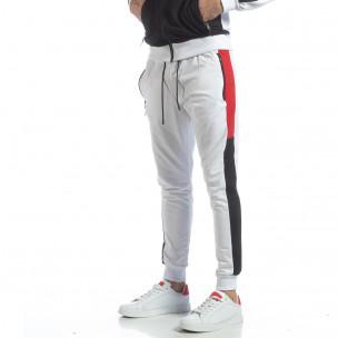 Бяло мъжко долнище с ленти