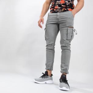 Сив мъжки карго панталон с прави крачоли