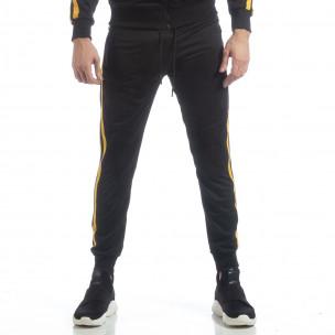 Черно мъжко Biker долнище жълт кант 2