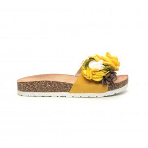 Жълти дамски чехли флорален дизайн