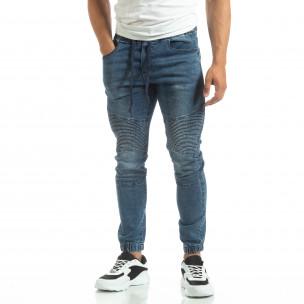 Мъжки сини рокерски дънки тип Jogger  2