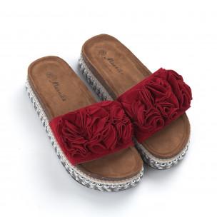 Дамски червени чехли на платформа с декорация 2