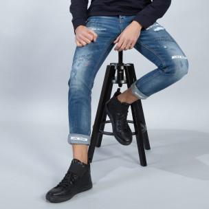 Мъжки сини дънки с принт и маншети