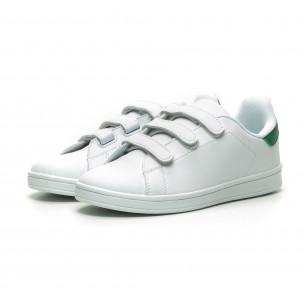 Бели мъжки кецове зелена пета и лепенки  2