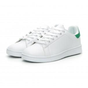 Basic дамски бели кецове зелена пета 2
