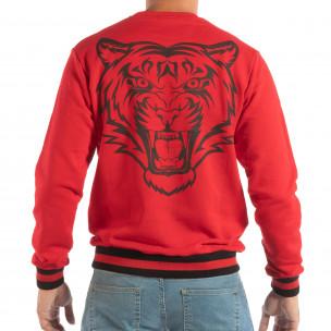 Мъжка червена ватирана блуза с принт на гърба  2