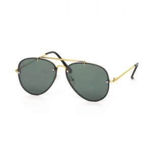 Пилотски очила с плоски стъкла и златиста рамка