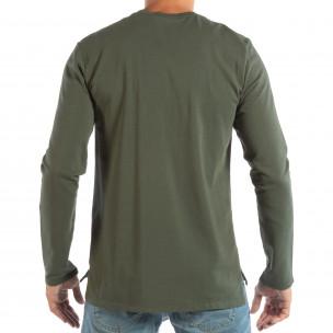 Basic мъжка зелена блуза от памук  2