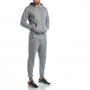 Спортен мъжки комплект в сив меланж  2
