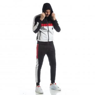 Черен мъжки спортен комплект с ленти