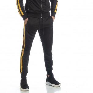 Черно мъжко Biker долнище жълт кант