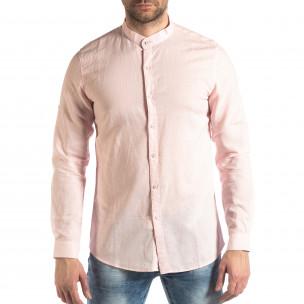 Мъжка риза от лен и памук в розово