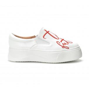 Slip-on бели дамски кецове с червен надпис