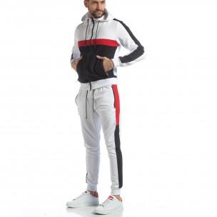 Бял мъжки спортен комплект с ленти