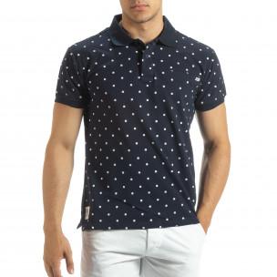 Мъжки син polo shirt Clover мотив