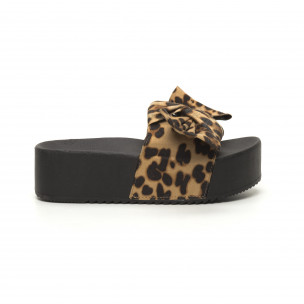 Дамски чехли леопард на платформа