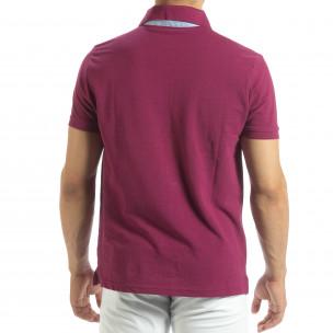 Мъжки червен polo shirt със синьо столче 2