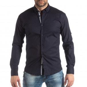 Мъжка вталена риза тъмно син кръстовиден десен  2