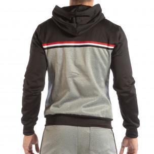 Мъжки сив суичър 3 striped с черна качулка  2