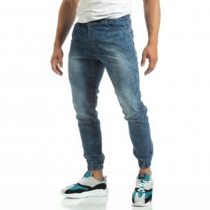 Мъжки тънки дънки тип Jogger в синьо