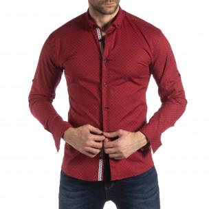Мъжка вталена риза с червен кръстовиден десен