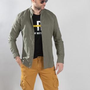 Мъжка риза от лен и памук в зелено