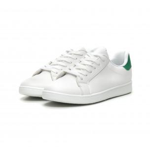 Бели мъжки кецове зелена пета и връзки  2
