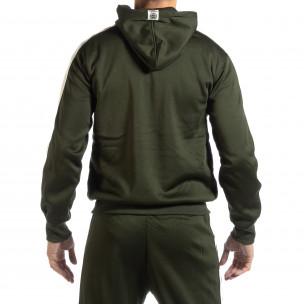 Зелен мъжки суичър с бели ленти 2